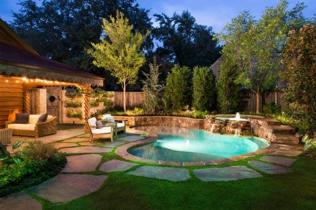Beautiful Backyard Lighting Pools