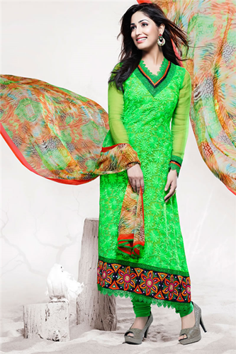 Frantic Fashion World Parrot Green With Orange Contrast