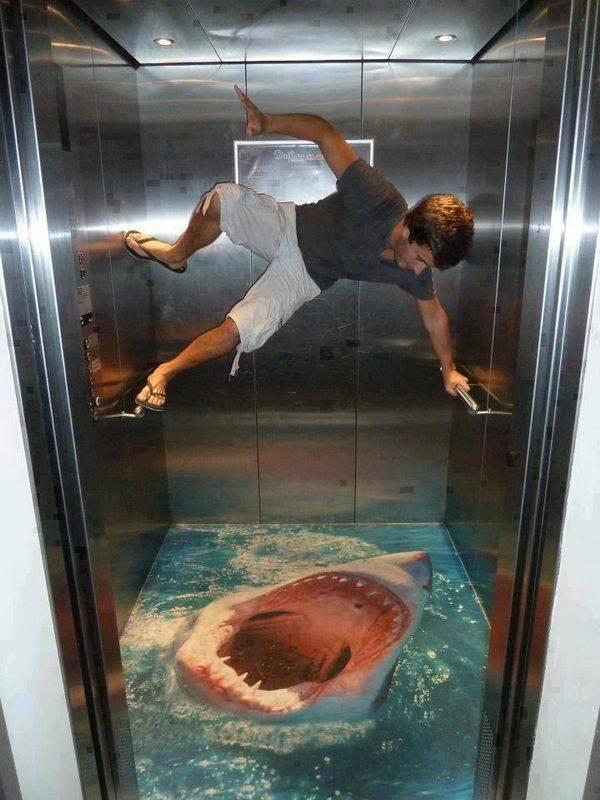 3d art on elevator floors for Floor 3d painting
