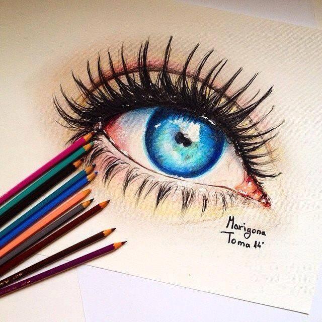 Как нарисовать красивый глаз цветными карандашами