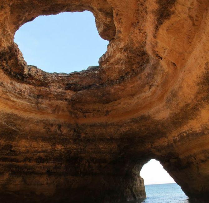 Huge Beach Caves In Algarve, Portugal