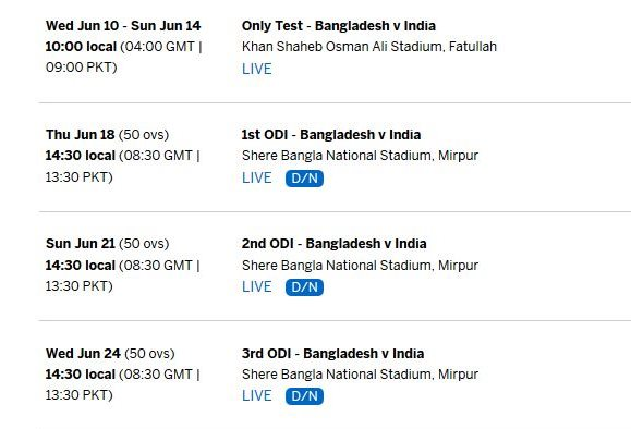 India Tour To Bangladesh 2015 Schedule And Fixture