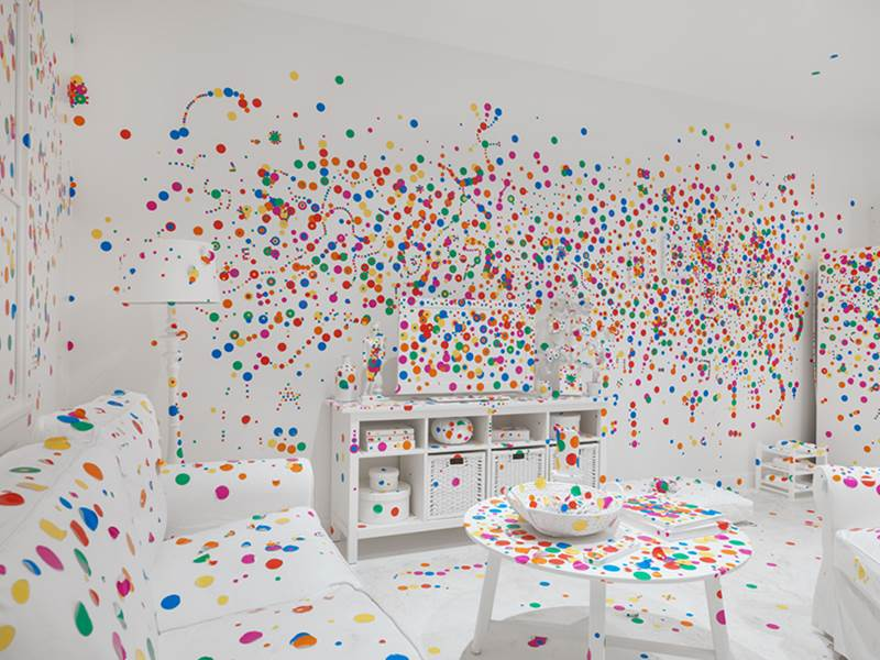 Obliteration Room Polka Dotted Colorful Room Design