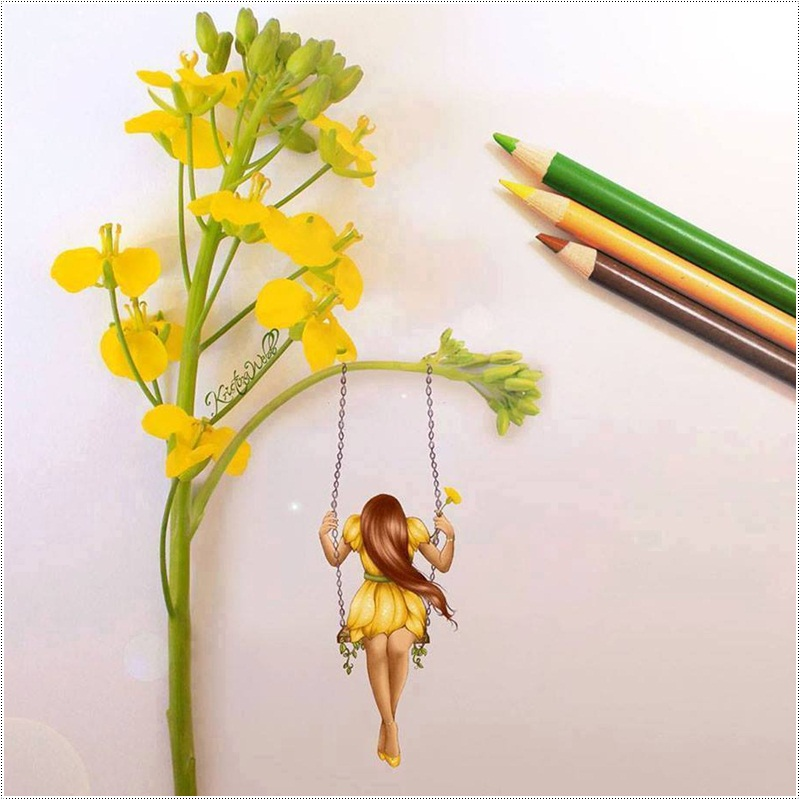 Drawings with real objects by Kristina Webb
