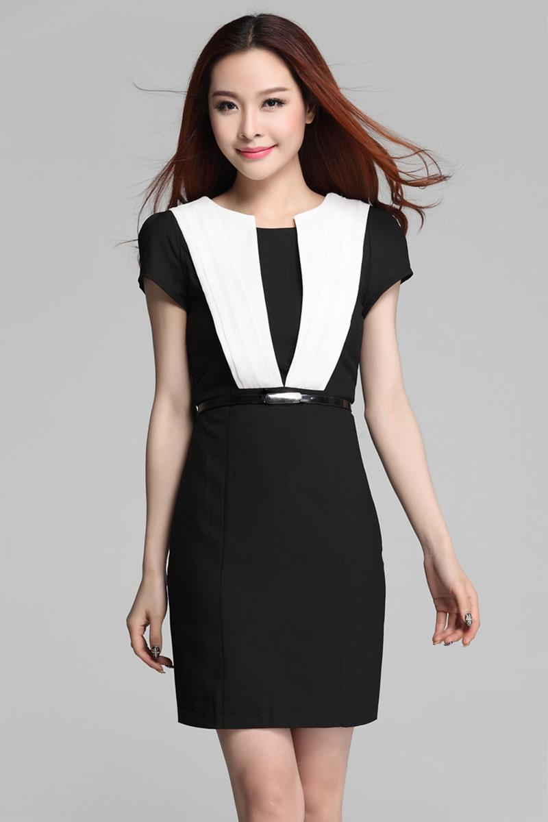 Luxury Black And White Office Dresses For Women Images